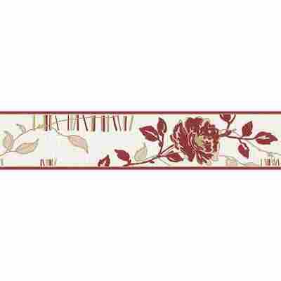 "Bordüre ""Bellissima"" selbstklebend Blumen rot/weiß 5 x 0,13 m"