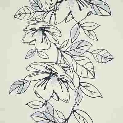 """Vliestapete """"Blume"""" blau/weiß"""