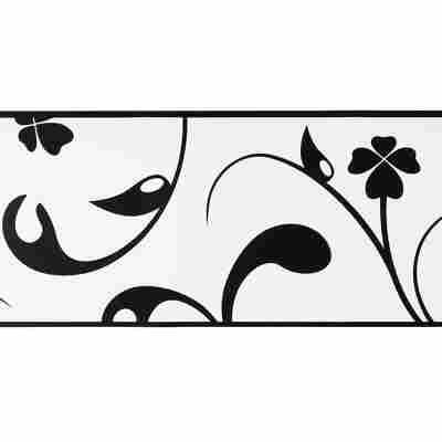 """Folienbordüre """"Stick up's Contzen"""" 5 x 0,13 m Blumen schwarz/weiß"""