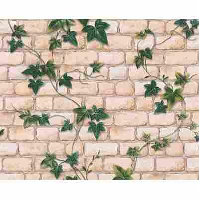 """Papiertapete """"Decora Natur 3"""" Steinwand grün/weiß 10,05 x 0,53 m"""