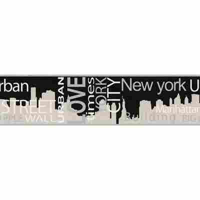 "Bordüre ""Boys & Girls 4"" New York grau metallic schwarz 5 x 0,13 m"