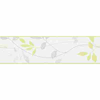 "Papierbordüre ""Avenzio 4"" Blätter cremefarben/grau/grün 5 x 0,17 m"
