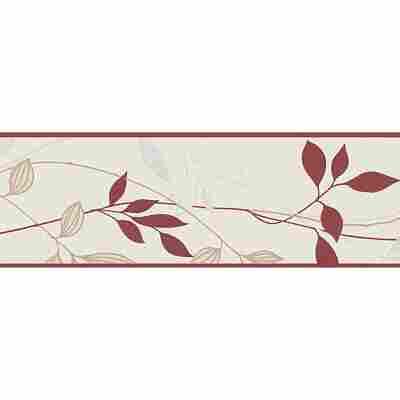 "Papierbordüre ""Avenzio 4"" Blätter cremefarben/rot 5 x 0,17 m"