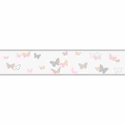 Vliesbordüre 'Esprit Kids 4' Schmetterlinge beige/bunt/rosa 5 x 0,13 m