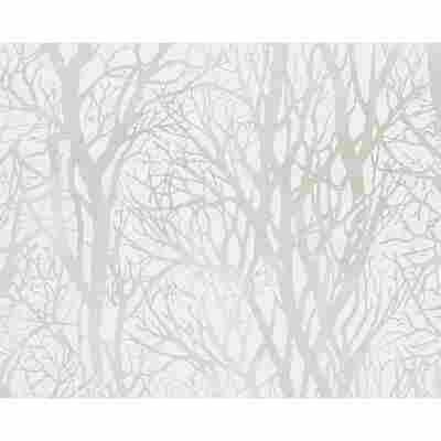"Vliestapete ""Life 3"" Wald grün metallic weiß 10,05 x 0,53 m"