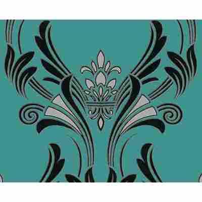 "Papiertapete ""Atlanta"" Ornamente grün metallic schwarz 10,05 x 0,53 m"