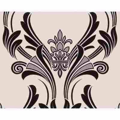 "Papiertapete ""Atlanta"" Ornamente metallic schwarz weiß 10,05 x 0,53 m"