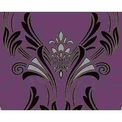 "Vinyltapete ""Atlanta"" Ornamente metallic schwarz/lila 10,05 x 0,53 m"