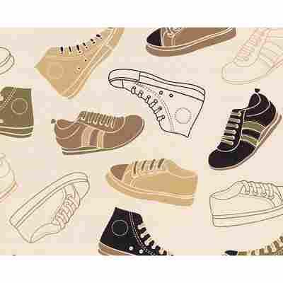 """Papiertapete """"Boys & Girls 4"""" Schuhe beige/braun/schwarz 10,05 x 0,53 m"""