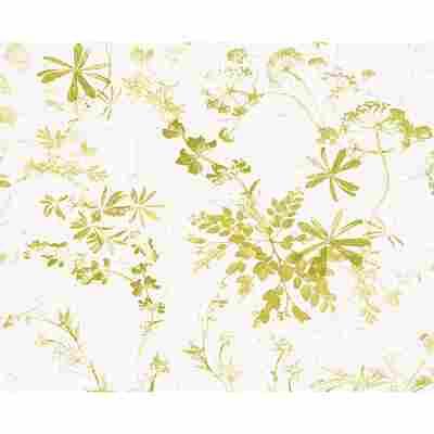 Tapete 'Brigitte 4' 10,05 x 0,53 m Blumen grau/grün/weiß