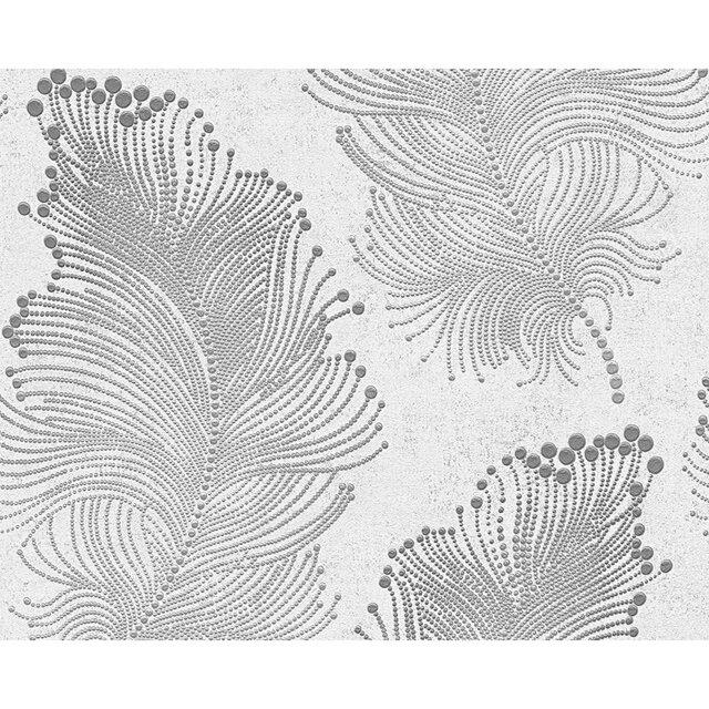 vliestapete burlesque federn metallic wei 10 05 x 0 53 m toom baumarkt. Black Bedroom Furniture Sets. Home Design Ideas