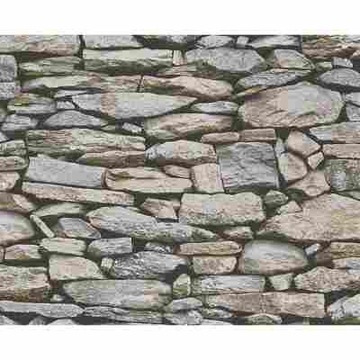 """Papiertapete """"Dekora Natur 6"""" Steine beige/grau/schwarz 10,05 x 0,53 m"""