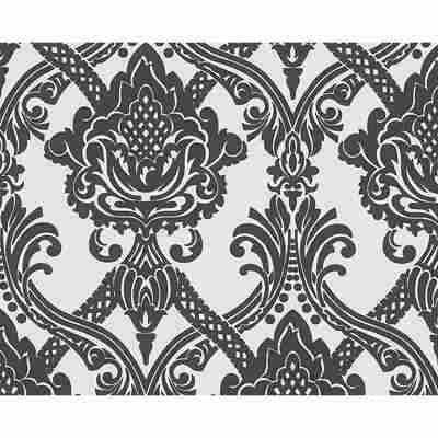 """Vliestapete """"Flock"""" Ornamente schwarz/weiß 10,05 x 0,53 m"""