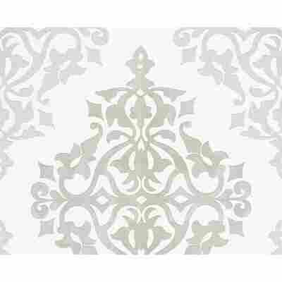"""Vliestapete """"Flock 4"""" Ornamente grau/weiß 10,05 x 0,53 m"""