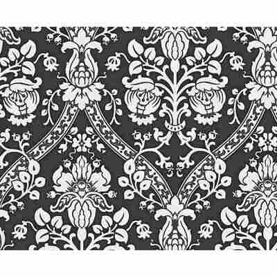 """Vliestapete """"Flock 4"""" Ornamente schwarz/weiß 10,05 x 0,53 m"""