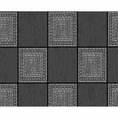 "Strukturprofiltapete ""T/E 2012 UK"" Rechtecke grau metallic/schwarz 10,05 x 0,53 m"