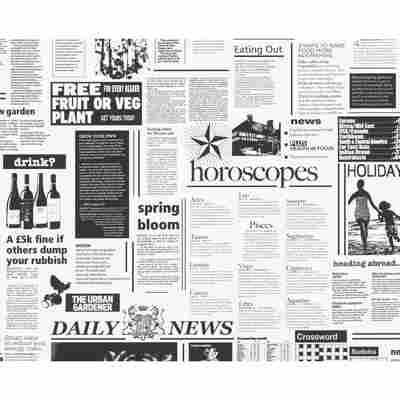 """Papiertapete """"Einzelblatt"""" Zeitung schwarz/weiß 10,05 x 0,53 m"""