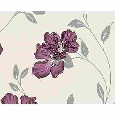 "Strukturprofiltapete ""UK"" Blume metallic lila/weiß 10,05 x 0,53 m"