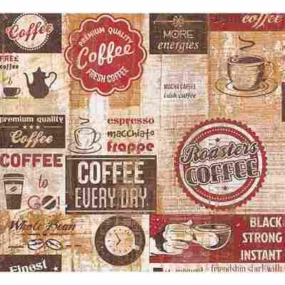 "Papiertapete ""Simply Decor"" Küche beige/braun/rot 10,05 x 0,53 m"