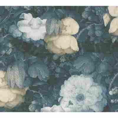 Vliestapete Metropolitan Stories 'Anke & Daan' Amsterdam, Blume Aquarell blau 10,05 x 0,53 m