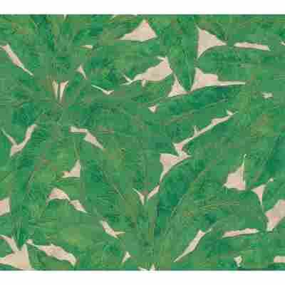 Vliestapete Metropolitan Stories 'Francesca' Milano, Blätter grün-gold 10,05 x 0,53 m