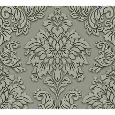 Vliestapete Metropolitan Stories 'Lizzy' London, Damask graugrün 10,05 x 0,53 m