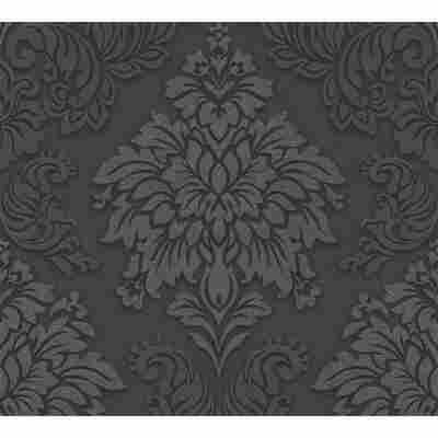Vliestapete Metropolitan Stories 'Lizzy' London, Damask schwarz-silber 10,05 x 0,53 m