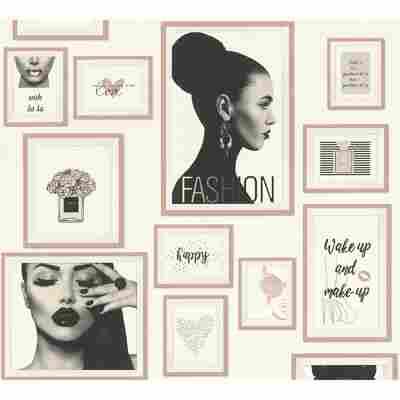 Vliestapete Metropolitan Stories 'Lola' Paris, Bilderrahmen roségold-weiß 10,05 x 0,53 m