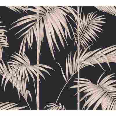 Vliestapete Metropolitan Stories 'Lola' Paris, Palmgras schwarzbraun-rosé 10,05 x 0,53 m