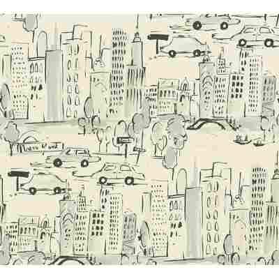 Papiertapete 'Boys & Girls 6' Stadt creme 53 x 1005 cm