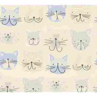 Papiertapete 'Boys & Girls 6' Katzen creme 53 x 1005 cm