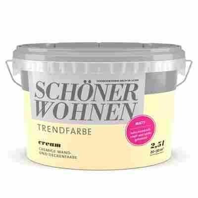 Wand- und Deckenfarbe Trendfarbe 'Cream' cremebeige matt 2,5 l