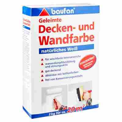 Geleimte Decken- und Wandfarbe weiß 2 kg