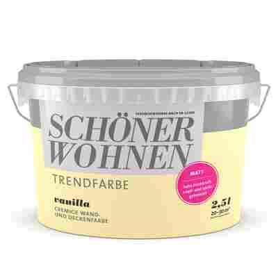 Wand- und Deckenfarbe Trendfarbe 'Vanilla' vanillegelb matt 2,5 l