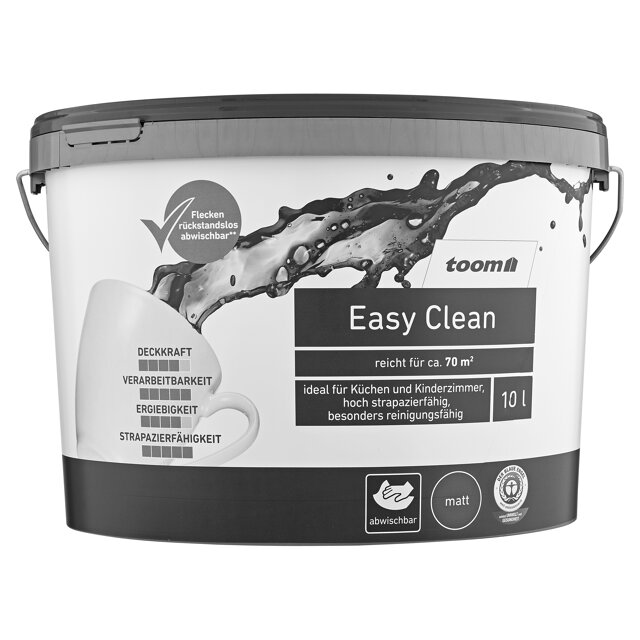 dispersionsfarbe easy clean matt wei 10 l toom baumarkt. Black Bedroom Furniture Sets. Home Design Ideas