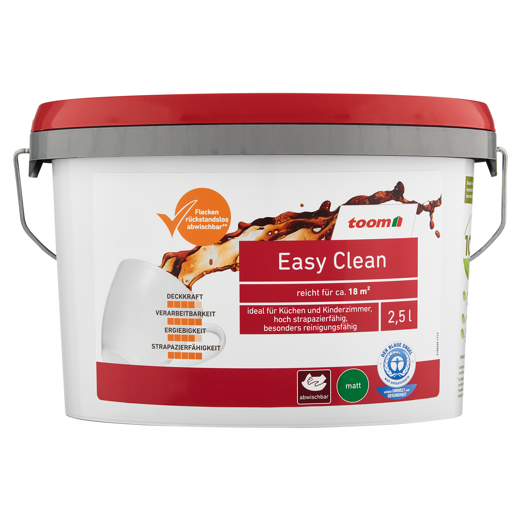 "dispersionsfarbe ""easy clean"" matt weiß 2,5 l ǀ toom baumarkt"