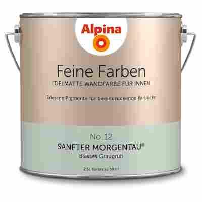 Wandfarbe 'Feine Farben' No. 12 'Sanfter Morgentau', graugrün, 2,5 l