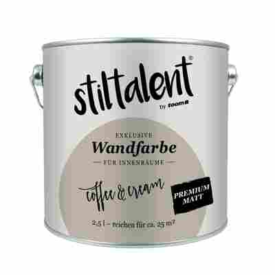 Stiltalent Wandfarbe 'Coffee Cream' Premium Matt 2,5 l