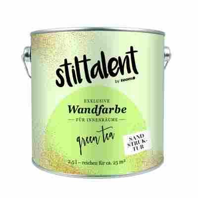 Stiltalent Wandfarbe 'Green Tea' Sandstruktur 2,5 l