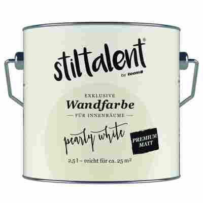 Wandfarbe 'Pearly White' Premium Matt konservierungsmittelfrei 2,5 l