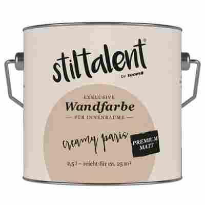 Wandfarbe 'Creamy Paris' Premium Matt konservierungsmittelfrei 2,5 l