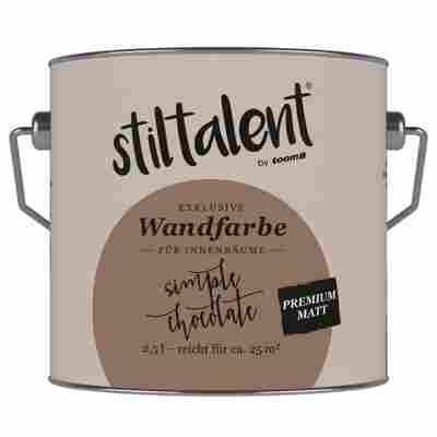 Wandfarbe 'Simple Chocolate' Premium Matt konservierungsmittelfrei 2,5 l