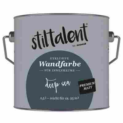 Wandfarbe 'Deep Sea' Premium Matt konservierungsmittelfrei 2,5 l