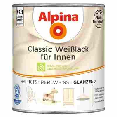 Alpina Classic Weißlack für Innen, perlweiß, glänzend, 750 ml