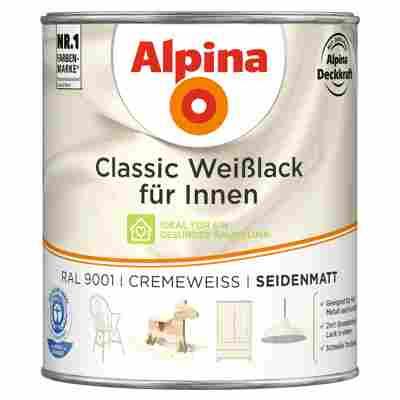Alpina Classic Weißlack für Innen, cremeweiß, seidenmatt, 750 ml