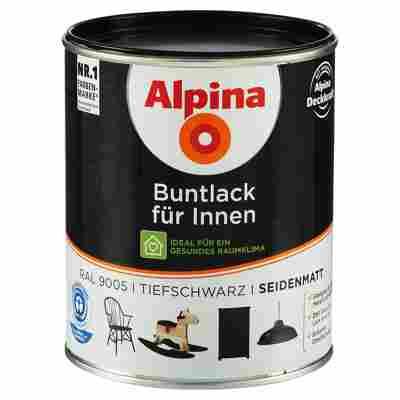 Alpina Buntlack für Innen tiefschwarz seidenmatt 750 ml