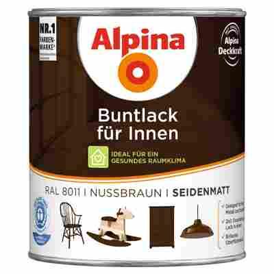 Alpina Buntlack für Innen nussbraun seidenmatt 750 ml