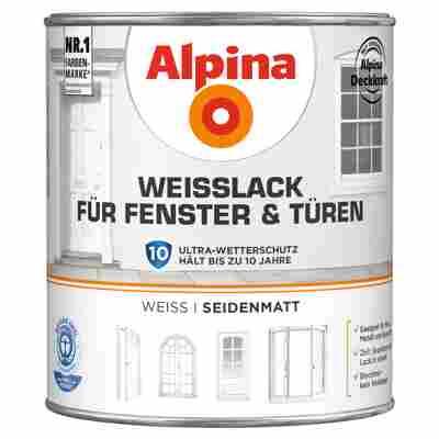 Alpina Weißlack für Fenster und Türen, seidenmatt, 2000 ml