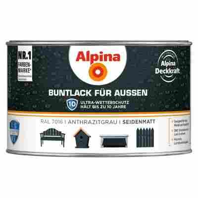 Alpina Buntlack für Außen, anthrazitgrau, seidenmatt, 300 ml