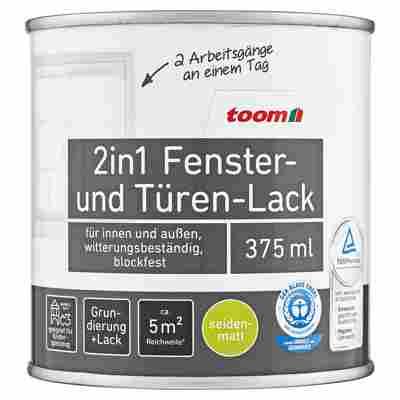 toom 2in1 Fenster- und Türen-Lack, weiß, seidenmatt, 375 ml